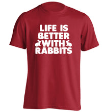 Life is better with rabbits adults unisex red Tshirt 2XL