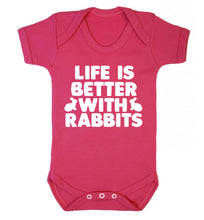 Life is better with rabbits Baby Vest dark pink 18-24 months