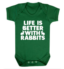 Life is better with rabbits Baby Vest green 18-24 months
