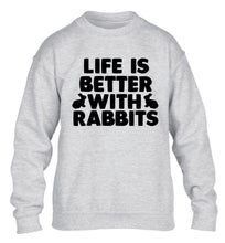 Life is better with rabbits children's grey  sweater 12-14 Years