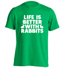 Life is better with rabbits adults unisex green Tshirt 2XL