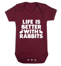 Life is better with rabbits Baby Vest maroon 18-24 months