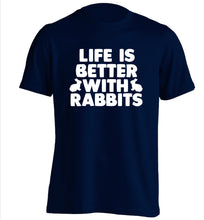 Life is better with rabbits adults unisex navy Tshirt 2XL