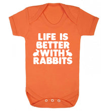 Life is better with rabbits Baby Vest orange 18-24 months