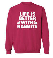 Life is better with rabbits Adult's unisex pink  sweater XL