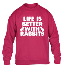 Life is better with rabbits children's pink  sweater 12-14 Years