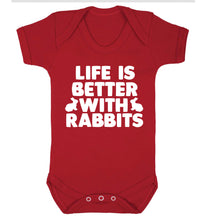 Life is better with rabbits Baby Vest red 18-24 months