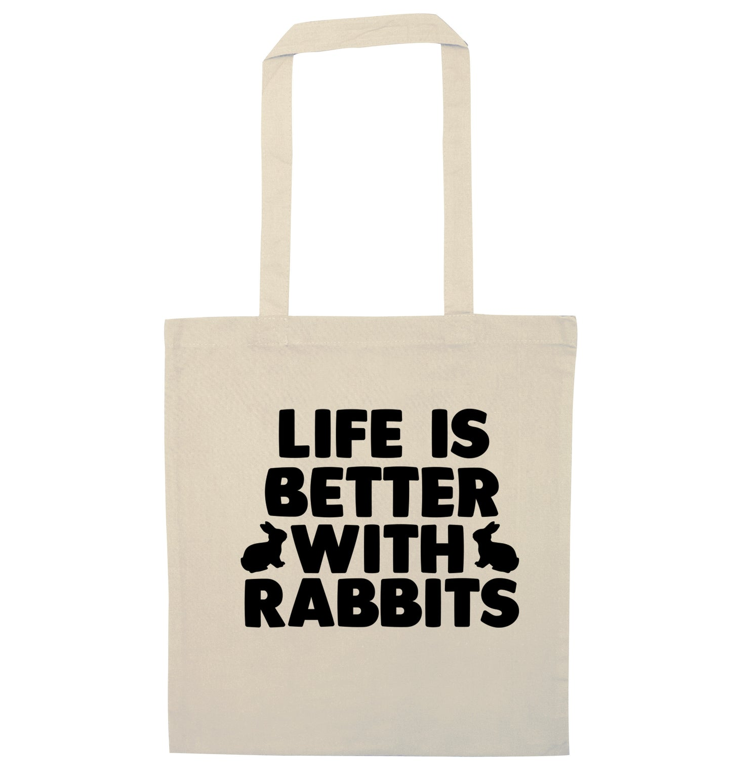 Life is better with rabbits natural tote bag