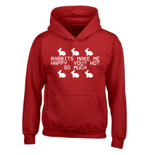 Rabbits make me happy, you not so much children's red hoodie 12-14 Years