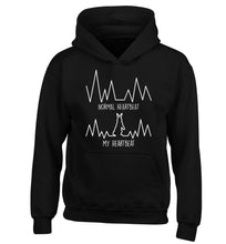 Normal heartbeat, my heartbeat rabbit lover children's black hoodie 12-14 Years