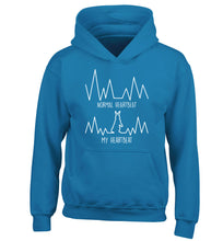 Normal heartbeat, my heartbeat rabbit lover children's blue hoodie 12-14 Years