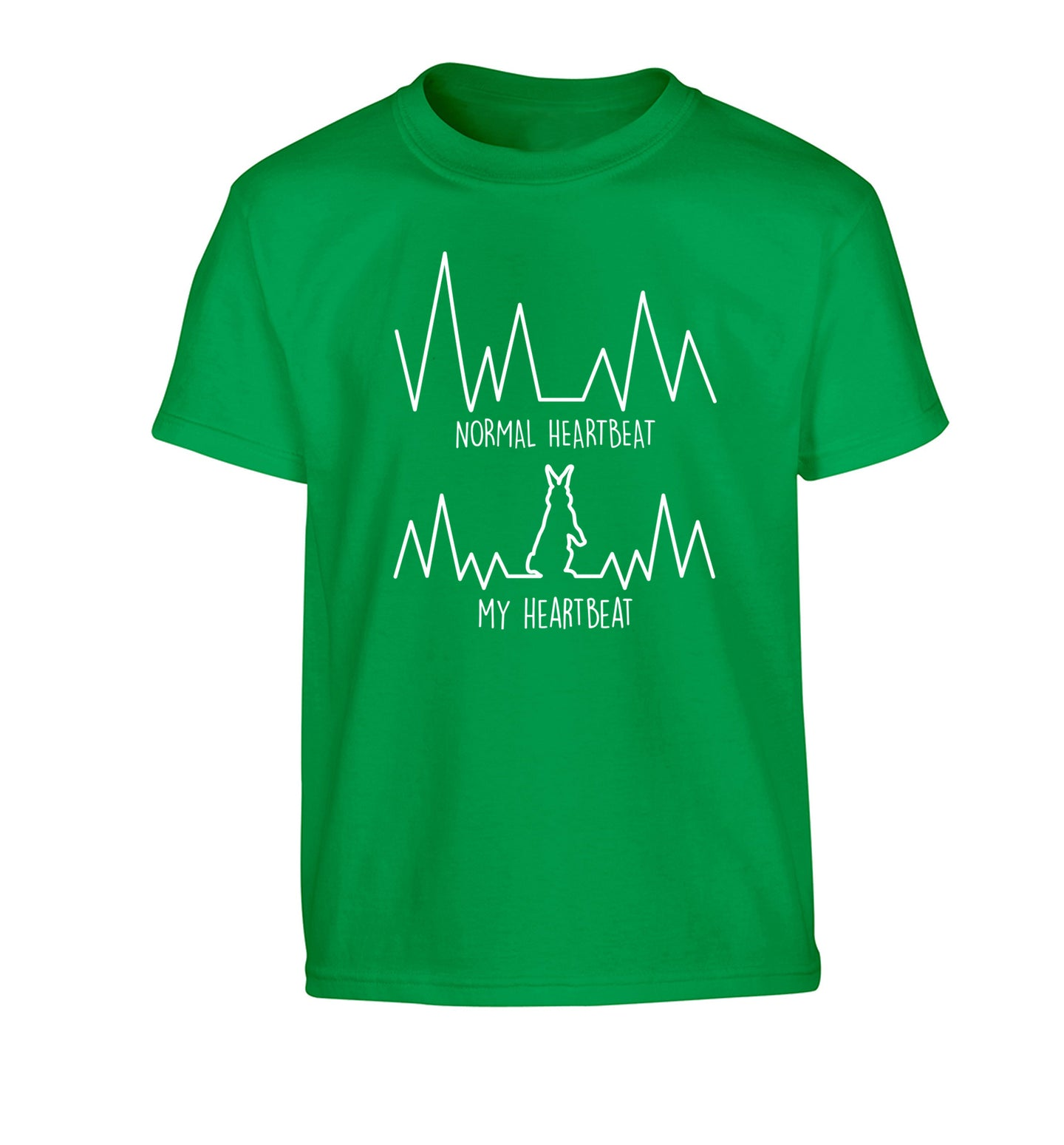 Normal heartbeat, my heartbeat rabbit lover Children's green Tshirt 12-14 Years