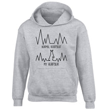 Normal heartbeat, my heartbeat rabbit lover children's grey hoodie 12-14 Years