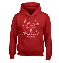 Normal heartbeat, my heartbeat rabbit lover children's red hoodie 12-14 Years
