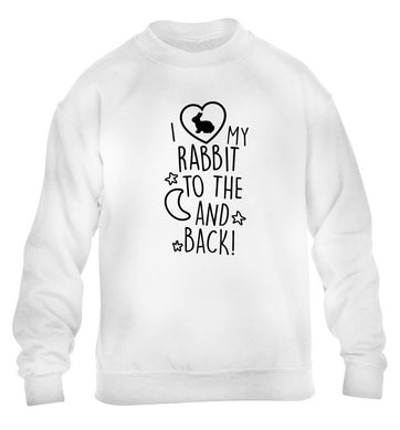 I love my rabbit to the moon and back children's white  sweater 12-14 Years