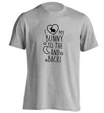 I love my bunny to the moon and back adults unisex grey Tshirt 2XL