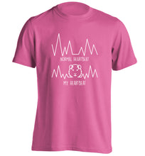 Normal heartbeat vs my heartbeat guinea pig lover adults unisex pink Tshirt 2XL