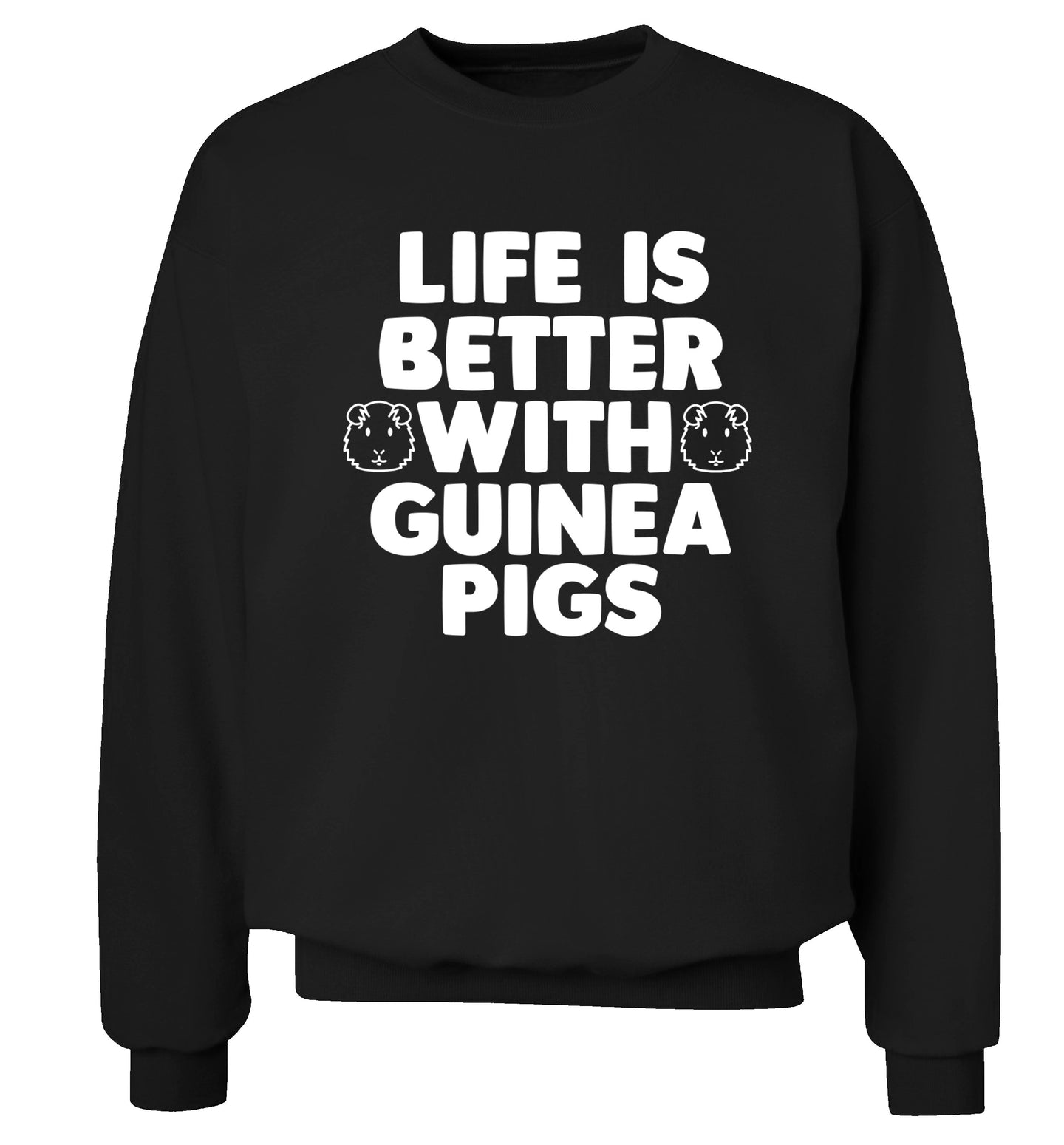 Life is better with guinea pigs Adult's unisex black  sweater 2XL