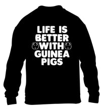 Life is better with guinea pigs children's black  sweater 12-14 Years
