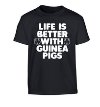 Life is better with guinea pigs Children's black Tshirt 12-14 Years