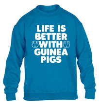Life is better with guinea pigs children's blue  sweater 12-14 Years