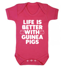 Life is better with guinea pigs Baby Vest dark pink 18-24 months
