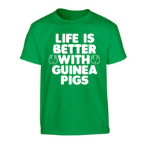 Life is better with guinea pigs Children's green Tshirt 12-14 Years