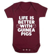 Life is better with guinea pigs Baby Vest maroon 18-24 months