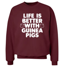 Life is better with guinea pigs Adult's unisex maroon  sweater 2XL