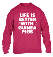 Life is better with guinea pigs children's pink  sweater 12-14 Years