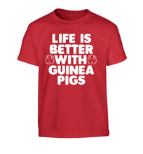 Life is better with guinea pigs Children's red Tshirt 12-14 Years