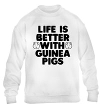 Life is better with guinea pigs children's white  sweater 12-14 Years