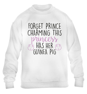 Forget prince charming, I have my guinea pig children's white  sweater 12-14 Years