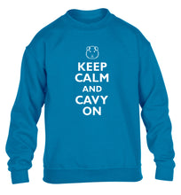 Keep calm and cavvy on children's blue  sweater 12-14 Years