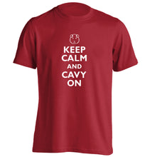 Keep calm and cavvy on adults unisex red Tshirt 2XL