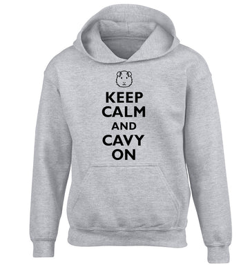 Keep calm and cavvy on children's grey hoodie 12-14 Years