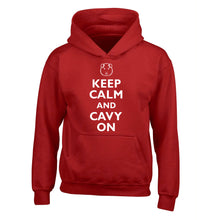 Keep calm and cavvy on children's red hoodie 12-14 Years