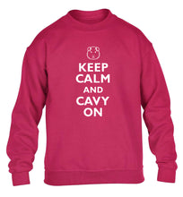 Keep calm and cavvy on children's pink  sweater 12-14 Years