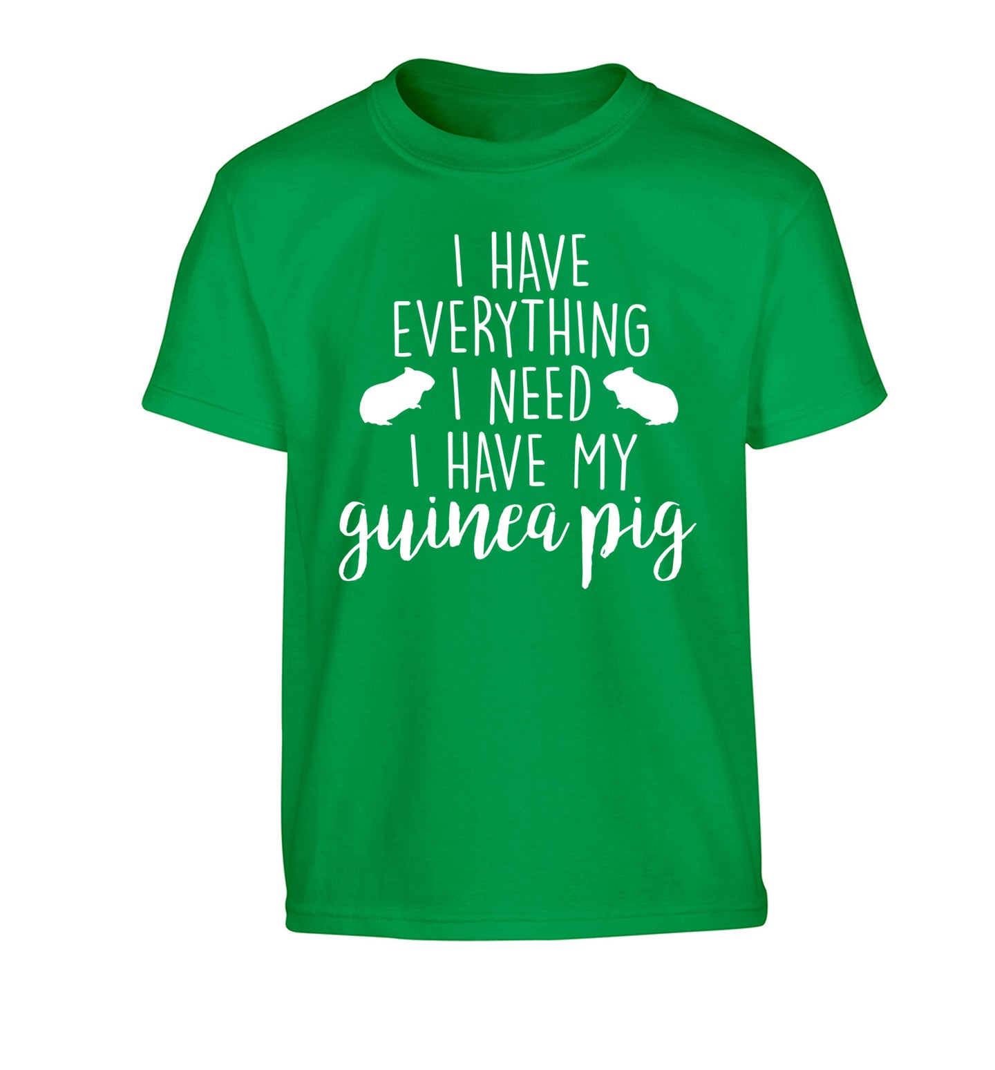 I have everything I need, I have my guinea pig Children's green Tshirt 12-14 Years