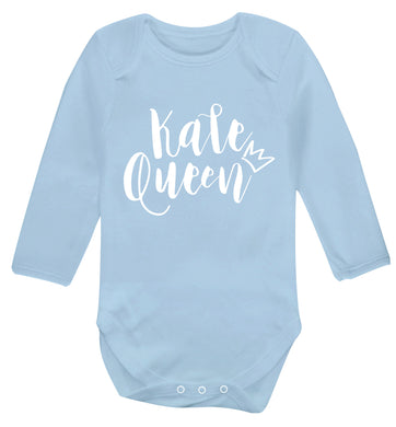 Kale Queen Baby Vest long sleeved pale blue 6-12 months