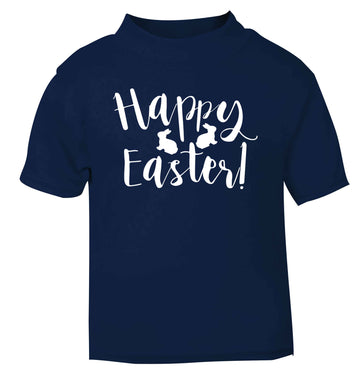 Happy easter navy baby toddler Tshirt 2 Years