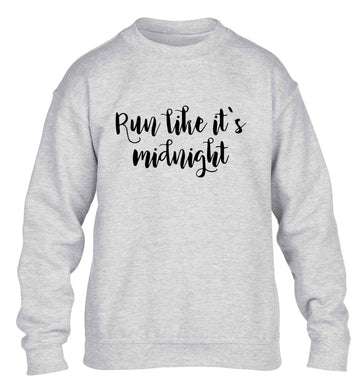Run like it's midnight children's grey sweater 12-13 Years