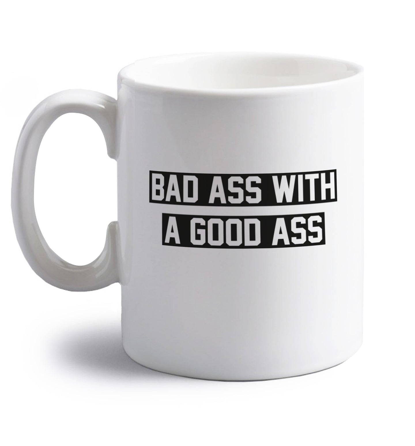 right handed white ceramic mug