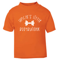 Uncle's little bodybuilder orange Baby Toddler Tshirt 2 Years