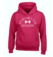 Big brother's little bodybuilder children's pink hoodie 12-14 Years
