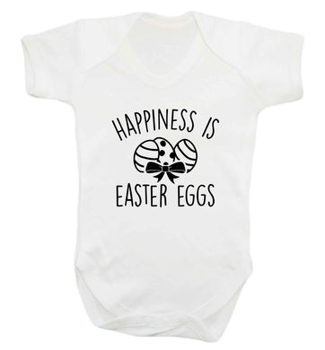 Happiness is Easter eggs baby vest white 18-24 months