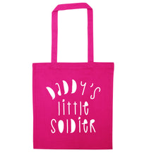Daddy's little soldier pink tote bag