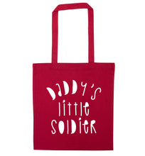 Daddy's little soldier red tote bag