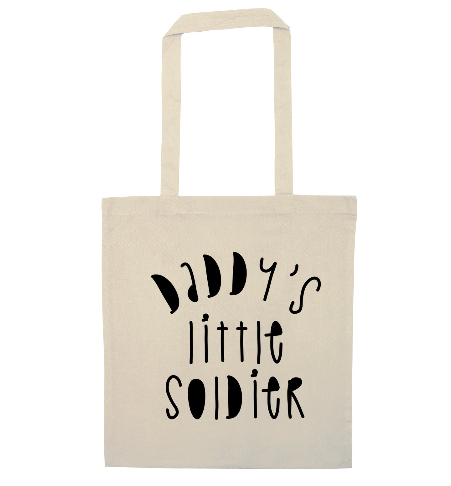 Daddy's little soldier natural tote bag