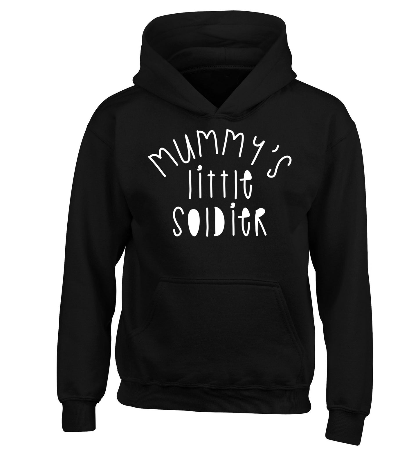Mummy's little soldier children's black hoodie 12-14 Years